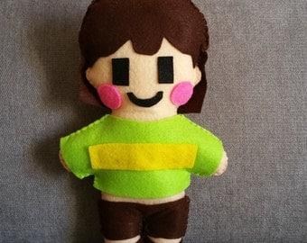 Felt handmade plush Chara (unofficial) from Undertale,felt plushie,Chara plush,Undertale plush,chara stuffed toy,gift idea