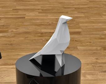 DIY Bird pigeon paper sculpture (low poly papercraft)