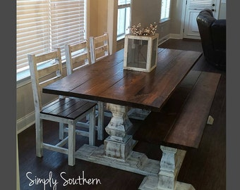 "Restoration Hardware Inspired Trestle Base Farmhouse Table ~ 8"" wide ""legs"""