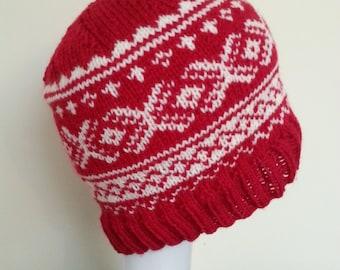 FRANCES - Red and White Scandi / Fair Isle Beanie Hat
