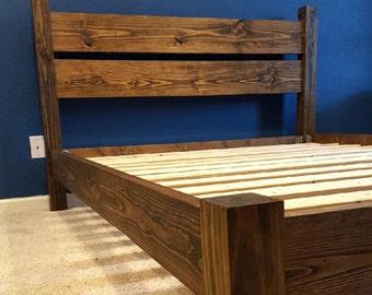 platform bed headboard bed frame bed with headboard four post bed solid wood bed wood 4 post bed