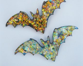 Large Iridescent Bat Hair Clip Your Choice Rainbow, Purple, or Orange