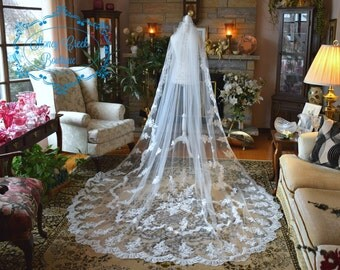 Lace wedding veil, cathedral wedding veil, cathedral veil, lace veil, Mantilla Veil, Bridal Veil, Alencon Lace, bridal Illusion