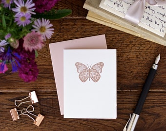 Butterfly letterpress card - hand made greeting cards
