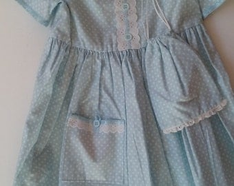 Baby Blue Polka Dot Girls' Dress and Purse