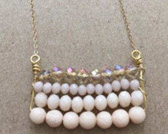 Detailed Necklace with Pink Beading