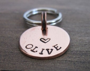 Tiny Pet ID Tag - Cat Tag - Small Dog Tag - Kitten Tag - Bridle Tag - Hand Stamped Copper