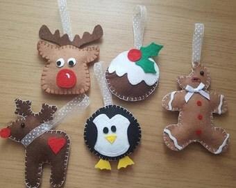 Set of 5 Christmas Tree Decorations, Christmas Ornaments, Christmas Decor, Holiday Decor, Christmas Decorations, Holiday Decorations, Felt