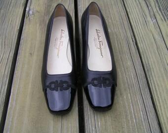 Ferragamo SALE/Salvatore Ferragamo Sz 5 1/2 C Horsebit Loafers/Ferragamo Black Flats/Vintage Ferragamo Shoes/Ferragamo Shoes/Ferragamo Black