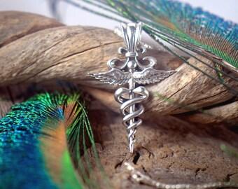 Caduceus ~ Sterling Silver Pendant ~ Hermes Mercury Hellenic Roman ~ Medical Nursing Health Doctor ~ Psychopomp Travel Luck Trickster