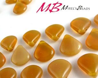 10 pcs Butterscotch Opaline, Brown Czech Glass Beads, 12x11mm Brown Briolette Beads