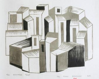 ΠΟΛΗ, (polis) 2015 woodcut Print size: 34×27 cm