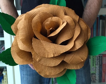 Giant crepe paper rose - hand made - 28cm diameter - Twig, perfect for Weddings, Birthdays, Valentines