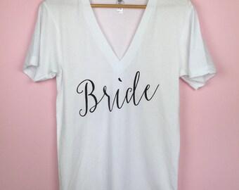 Bride Shirt. Bride V-neck Tshirt. Bride Tshirt. V-neck shirt. Bride Gift. Bride To Be Shirt. Bridal Shower Gift. Bachelorette Shirt.