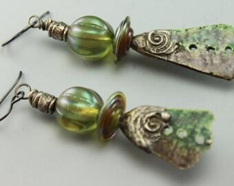 Boho Earrings, Rustic Earrings, Rustic Boho Earrings, Hippie Earrings, Earthy Earrings, Silver Tinned Earrings, #621-114