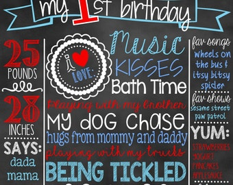 Nautical First Birthday Chalkboard | Boy 1st Birthday Chalkboard Sign | First Birthday Chalkboard Boy | First Birthday Chalkboard Poster