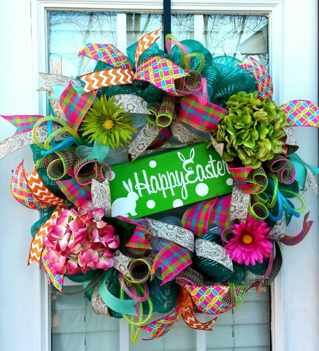Happy Easter Deco Mesh Wreatheaster Bunny Front Door Wreath