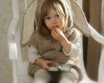 KNITTING PATTERN bunny poncho with hood and Phoebe (toddler, child, adult woman sizes)