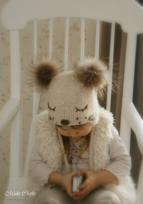 KNITTING PATTERN for kids ear flap hat Snow Dog with pom-poms