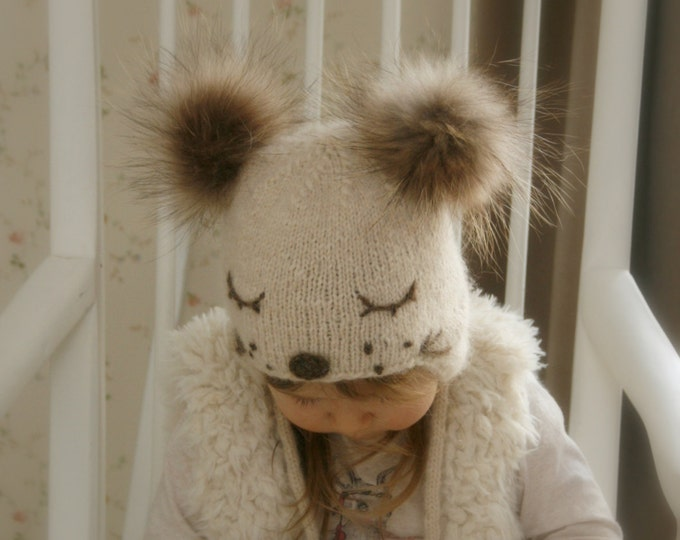 KNITTING PATTERN for kids ear flap hat Snow Dog with pom-poms (baby, toddler, child sizes)