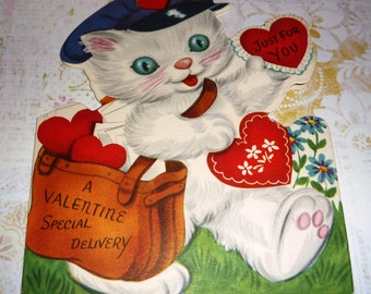 Vintage Valentine Kitten Mailman Has a Special Delivery