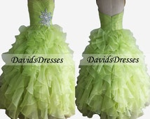 Green Long Prom Dress 2016, Vintage Ball Gown Prom Dresses