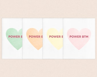 "Valentine's Day ""Power Bottom"" Letterpress Gay Queer LGBT Candy Heart Card"