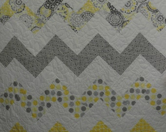 Modern Baby Quilt-Yellow and Gray Nursery Bedding