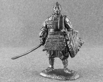 Antique Statuette Action Figurines Japanese Noble Samurai Medieval 1/32 Toy Soldier Collectibles 54mm Tin Metal Miniature