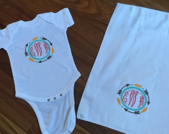 Follow Me Onesie with Burp Cloth