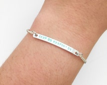 """Customizable """"Keep On Keepin' On"""" Engraved Stamped Bracelet, Made to Order"""