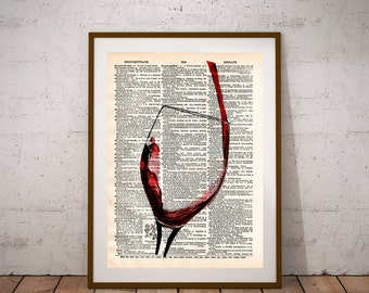 Red wine art, red wine pour, red wine splash, dictionary art print