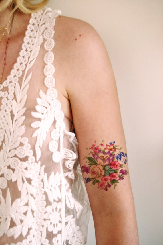 colorful vintage floral temporary tattoo vintage by