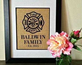 Firefighter Burlap Print. Firemen. Fireman. Fire Department seal. Maltese.