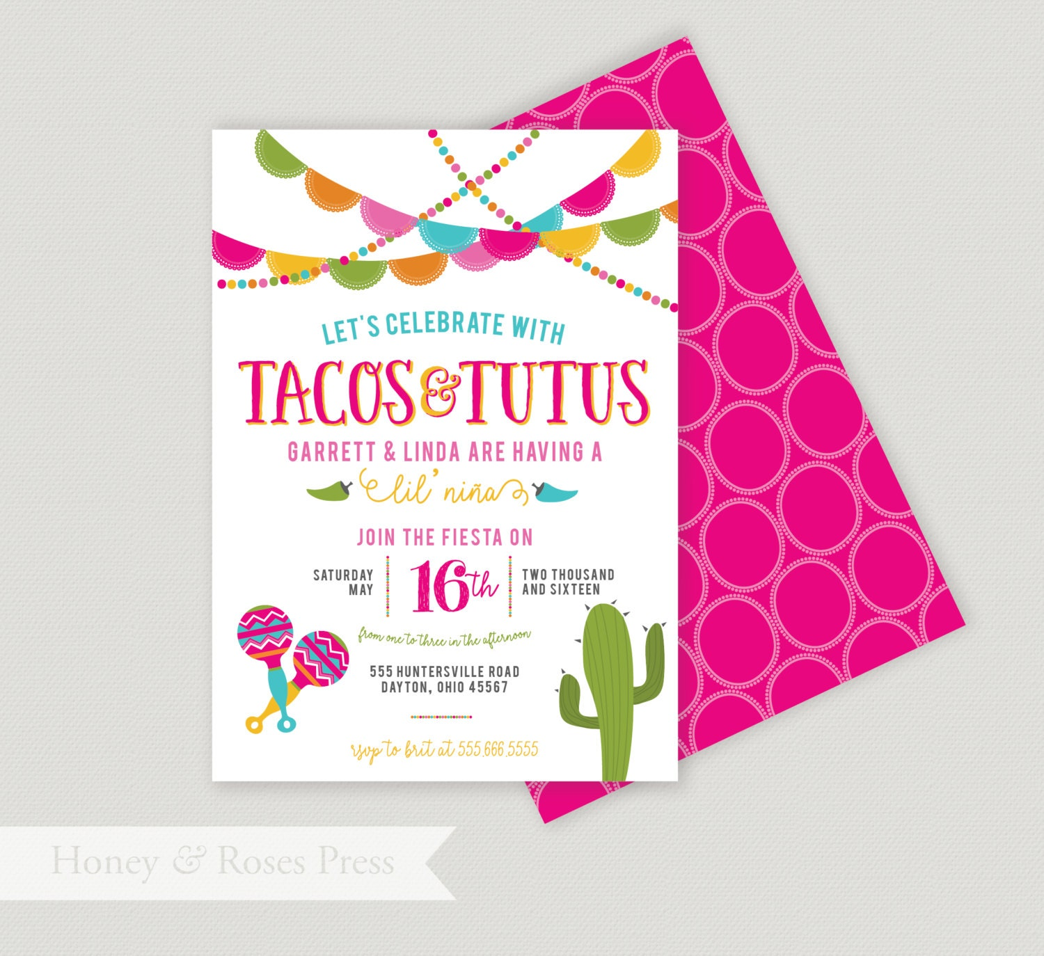 Tacos and Tutus Shower . Fiesta Baby Shower Invite . Mexican