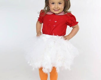 Lucy Goosey costume, Henny Penny Costume, Chicken Little costume, feather skirt, blouse
