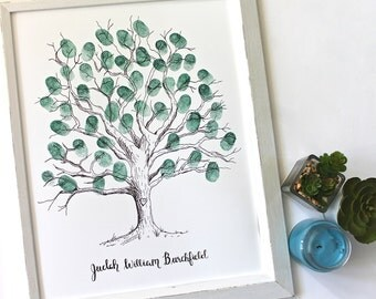 Guestbook Thumb Print Tree Sketch, Baby Shower Tree, Teacher Gift, Hand Drawn Tree, Finger Print Guest Book, Customizable