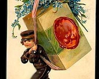 Boy Carrying Box New Years EAS 1908 Postcard
