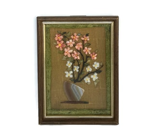 Vintage rock and stone art handmade mixed media picture spring decor 5X7