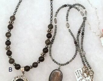 Black Hawkeye or Vintage Spinel Pendant Necklace. Sterling Silver.  free US ship