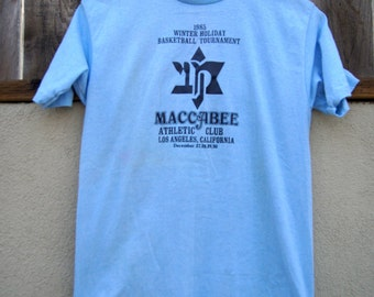 Vintage T-Shirt Maccabee Athletic Club Los Angeles 1985 Winter Holiday Basektball Tournament - Selec-T Tag TeeJays - Made in USA