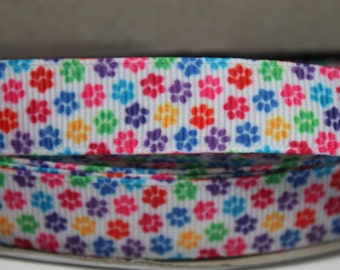 5/8 Inch Rainbow Paw Print Grosgrain Ribbon by the Yard for Hairbows, Scrapbooking, and More!!