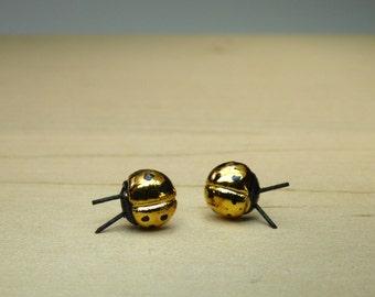 Porcelain Gold Ladybug Stud Earrings