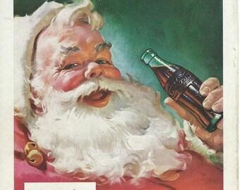 Coca cola santa 1950's  magazine advertisment downloads