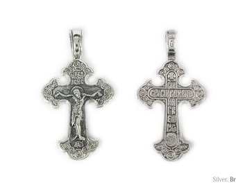 Jesus Cross / Solid 925. Sterling Silver Russian Greek Orthodox Pendant Crucifix