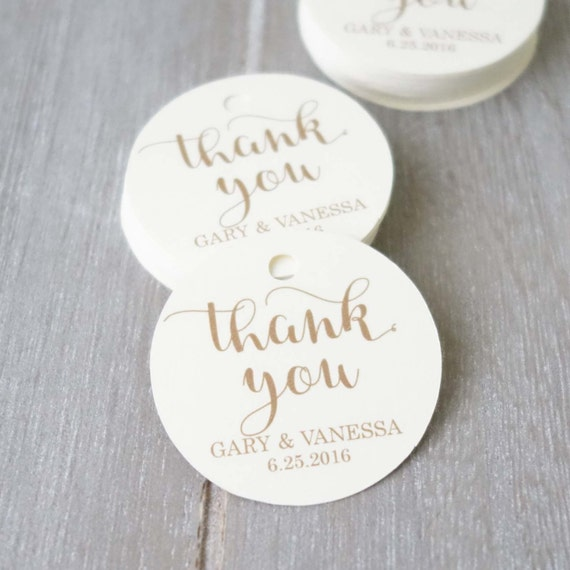 Wedding Tags ~ Round Tag ~ Customised Thank You Tags ~ Kraft Gift Tag ...