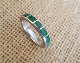 Vintage Sterling Silver with Iternity Inlay Turquoise Native American Style Ring Size 8