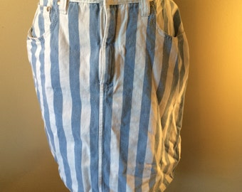 1980's Striped Cotton Skirt // Size 12 Vintage Blue and White Striped Skirt // Mid-length Women's Skirt