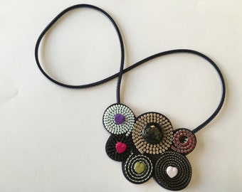Unique necklace - Colourful spirals OOAK