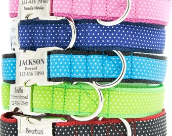 Polka Dot Personalized Dog Collar with laser engraved Pet ID, adjustable, for small dog or large dog
